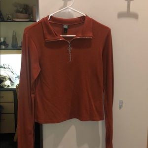 ORANGE THERMAL LONG SLEEVE WITH CIRCLE ZIPPER